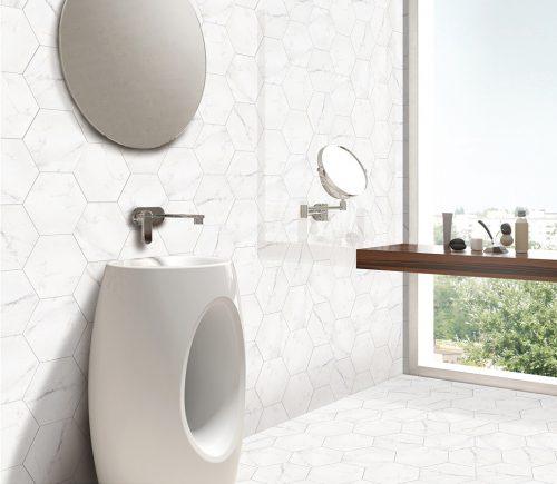 Hexagon Carrara Floor & Wall Tiles